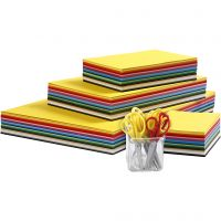 Farbiger Bastelkarton und Kinderscheren, A3,A4,A5,A6, 180 g, Sortierte Farben, 1 Set