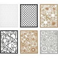 Block aus Karton mit Spitzen-Muster, A6, 104x146 mm, 200 g, Schwarz, Natur, Grau, Weiß, 24 Stk/ 1 Pck