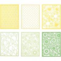 Block aus Karton mit Spitzen-Muster, A6, 104x146 mm, 200 g, Grün, Hellgrün, Gelb, Hellgelb, 24 Stk/ 1 Pck