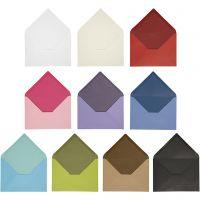 Kuvert, Umschlaggröße 11,5x16 cm, Inhalt kann variieren , 100 g, Sortierte Farben, 30 Pck/ 1 Pck
