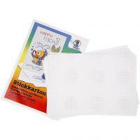 Stickkarton, Größe 23x33 cm, 3x3 Löcher pro cm , Weiß, 10 Bl./ 1 Pck