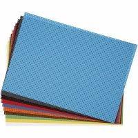Stickkarton, Größe 23x33 cm, 3x3 Löcher pro cm , Sortierte Farben, 10 Bl. sort./ 1 Pck