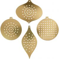 Stickkarten, Weihnachtsmotive, H: 8,5-12 cm, Lochgröße 3 mm, Metallic-Gold, 8 Stk/ 1 Pck