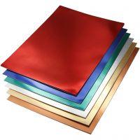 Metallic-Folienkarton, A4, 210x297 mm, 280 g, Sortierte Farben, 30 Bl. sort./ 1 Pck