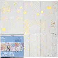 Malblock für Aquarellfarbe aus bedrucktem Papier, Größe 30,5x30,5 cm, Weiß, 12 Bl./ 1 Stk