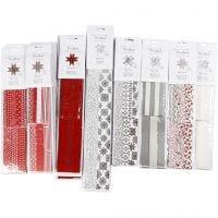 Papierstreifen für Fröbelsterne, L: 45+86+100 cm, D: 6,5+11,5+18 cm, B: 15+25+40 mm, Schwarz, Rot, Silber, Weiß, 18 Pck/ 1 Pck
