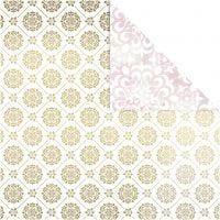 Design-Papier, Kacheln / Wasserfarbe, 30,5x30,5 cm, 180 g, Gold, Weiß, 3 Bl./ 1 Pck