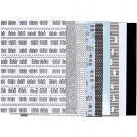 Block mit Design-Papier, Größe 21x30 cm, 120+128 g, Schwarz, Blau, Grau, Weiß, 24 Bl./ 1 Pck
