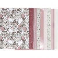 Block mit Design-Papier, Größe 21x30 cm, 120+128 g, Beige, Braun, Rosa, Weiß, 24 Bl./ 1 Pck