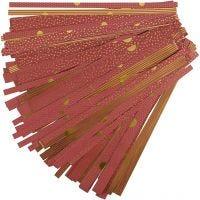 Papierstreifen für Fröbelsterne, L: 44+78 cm, D: 6,5+11,5 cm, B: 15+25 mm, Gold, Rot, 48 Streifen/ 1 Pck