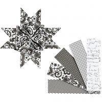 Papierstreifen für Fröbelsterne, L: 100 cm, D: 18 cm, B: 40 mm, Schwarz, Weiß, 40 Streifen/ 1 Pck