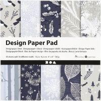 Design-Papier im Block, 15,2x15,2 cm, 120 g, Blau, Grau, 50 Bl./ 1 Pck