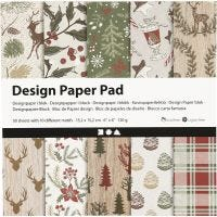 Design-Papier im Block, 15,2x15,2 cm, 120 g, Braun, Rot, 50 Bl./ 1 Pck