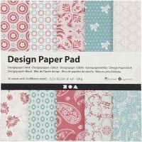 Design-Papier im Block, 15,2x15,2 cm, 120 g, Rosa, 50 Bl./ 1 Pck