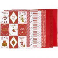 Block mit Design-Papier, Größe 21x30 cm, 120+128 g, Rot, Weiß, 24 Bl./ 1 Pck