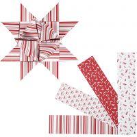Papierstreifen für Fröbelsterne, L: 100 cm, D: 18 cm, B: 40 mm, Rot, Weiß, 40 Streifen/ 1 Pck