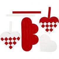 Flechtherzen, Größe 13,5x12,5 cm, Rot, Weiß, 8 Set/ 1 Pck