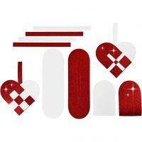 Flechtherzen, Größe 14,5x10 cm, 120+128 g, Rot, Weiß, 8 Set/ 1 Pck
