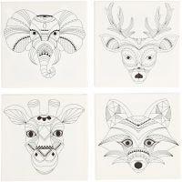 Keilrahmen, bedruckt, Tiere, Größe 20x20 cm, 280 g, Weiß, 4 Stk/ 1 Pck