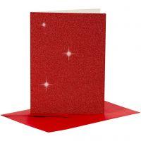 Karten & Kuverts, Kartengröße 10,5x15 cm, Umschlaggröße 11,5x16,5 cm, Glitter, 110+250 g, Rot, 4 Set/ 1 Pck