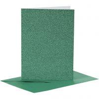 Karten & Kuverts, Kartengröße 10,5x15 cm, Umschlaggröße 11,5x16,5 cm, Glitter, 110+250 g, Grün, 4 Set/ 1 Pck