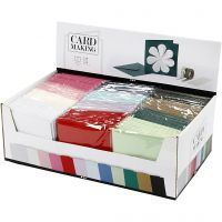 Karten & Kuverts, Kartengröße 15,2x15,2 cm, Umschlaggröße 16x16 cm, 230 g, Sortierte Farben, 12x10 Pck/ 1 Pck