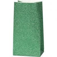 Papiertüten, H: 17 cm, Größe 6x9 cm, 150 g, Grün, 8 Stk/ 1 Pck
