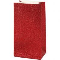 Papiertüten, H: 17 cm, Größe 6x9 cm, 200 g, Rot, 8 Stk/ 1 Pck