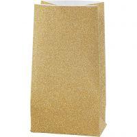 Papiertüten, H: 17 cm, Größe 6x9 cm, 170 g, Gold, 8 Stk/ 1 Pck