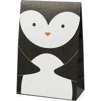Papiertüten, Pinguin, H: 18 cm, Größe 6x12 cm, 80 g, Schwarz/Weiß, 6 Stk/ 1 Pck