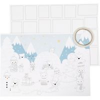 Adventkalender, Größe 30x42 cm, Weiß, 3 Stk/ 1 Pck
