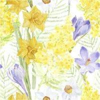 Papierservietten, Frühlingsblumen, Größe 33x33 cm, 20 Stk/ 1 Pck