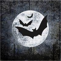 Papierservietten, Mond mit Fledermäusen, Größe 33x33 cm, 20 Stk/ 1 Pck