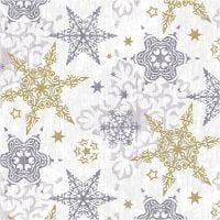 Papierservietten, Zarte Sterne in Silber und Gold, Größe 33x33 cm, 20 Stk/ 1 Pck