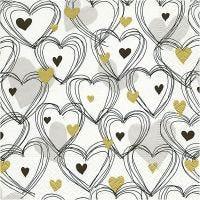 Papierservietten, Herzen, Größe 33x33 cm, 20 Stk/ 1 Pck