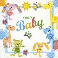 Papierservietten, Hello Baby, Größe 33x33 cm, 20 Stk/ 1 Pck