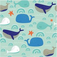 Papierservietten, Lustige Wale, Größe 33x33 cm, 20 Stk/ 1 Pck