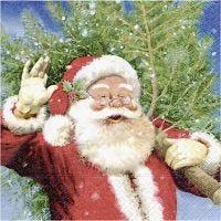 Papierservietten, Nikolaus mit Weihnachtsbaum, Größe 33x33 cm, 20 Stk/ 1 Pck