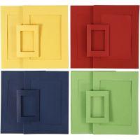 Passepartout-Rahmen, Größe A4+A6 , Blau, Grün, Rot, Gelb, 2x60 Stk/ 1 Pck