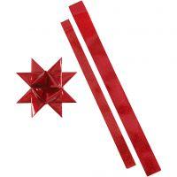 Papierstreifen für Sterne, L: 86+100 cm, B: 25+40 mm, D: 11,5+18,5 cm, Rot, Rot mit Glitter, 16 Streifen/ 1 Pck