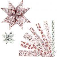 Papierstreifen für Fröbelsterne, L: 44+78 cm, B: 15+25 mm, D: 6,5+11,5 cm, Rot, Weiß, 48 Streifen/ 1 Pck
