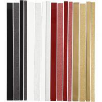 Papierstreifen für Fröbelsterne, L: 44+78 cm, D: 6,5+11,5 cm, B: 15+25 mm, Glitter,Lack, 4x10 Pck/ 1 Pck