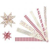 Papierstreifen für Fröbelsterne, L: 44+78 cm, D: 6,5+11,5 cm, B: 15x25 mm, Gold, Rot, Weiß, 48 Streifen/ 1 Pck