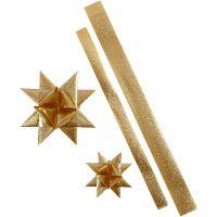 Papierstreifen für Sterne, L: 86+100 cm, D: 11,5+18,5 cm, B: 25+40 mm, Gold mit Glitter, 16 Streifen/ 1 Pck
