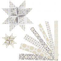 Papierstreifen für Fröbelsterne, L: 44+78 cm, D: 6,5+11,5 cm, B: 15+25 mm, Gold, Weiß, 48 Streifen/ 1 Pck