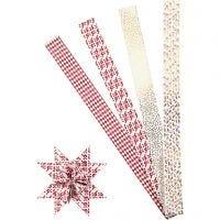 Papierstreifen für Fröbelsterne, L: 100 cm, D: 18 cm, B: 40 mm, Gold, Rot, Weiß, 40 Streifen/ 1 Pck