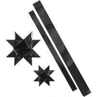 Papierstreifen für Sterne, L: 86+100 cm, B: 25+40 mm, D: 11,5+18,5 cm, Schwarz, 16 Streifen/ 1 Pck