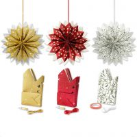 Sterne aus Papiertüten, Gold, Grün, Rot, Weiß, 3x10 Pck/ 1 Pck
