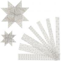 Papierstreifen für Fröbelsterne, L: 44+78 cm, B: 15+25 mm, D: 6,5+11,5 cm, Silber, Weiß, 48 Streifen/ 1 Pck