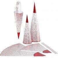 Spitztüten, H: 18+28 cm, 120 g, Rot, Weiß, 3 Stk/ 1 Pck